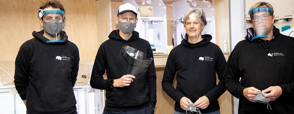 Maskenproduktion im 3D Lab der Modellbauwerkstatt Innenarchitektur