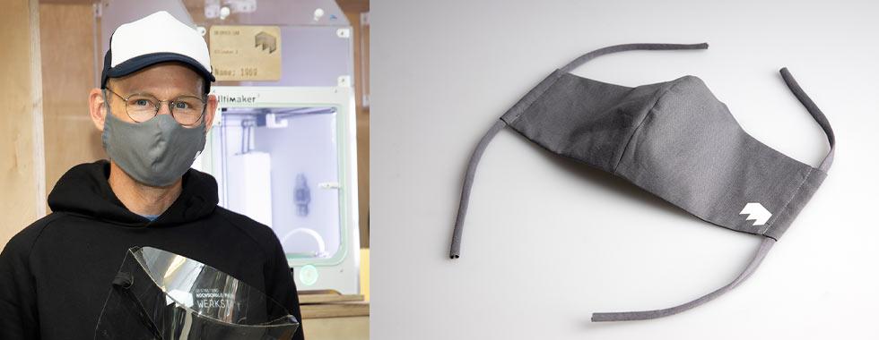 In der Modellbauwerkstatt genähte Stoffmasken